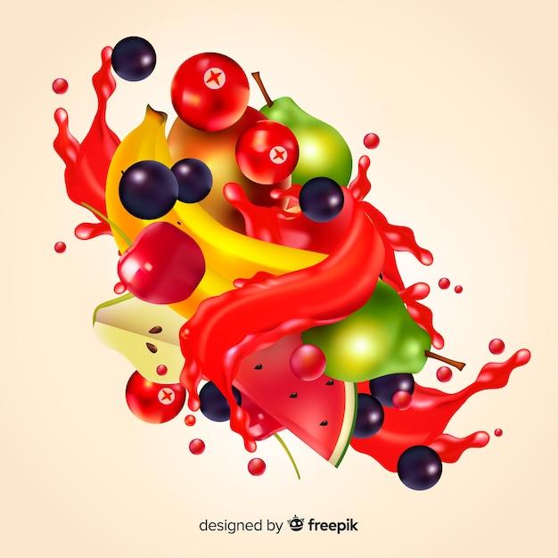 Fondo realista zumo de frutas tropicales vector gratuito