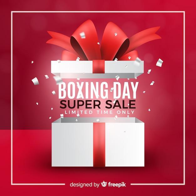 Fondo de rebajas boxing day realista vector gratuito