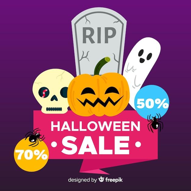 Fondo de rebajas de halloween en diseño plano vector gratuito