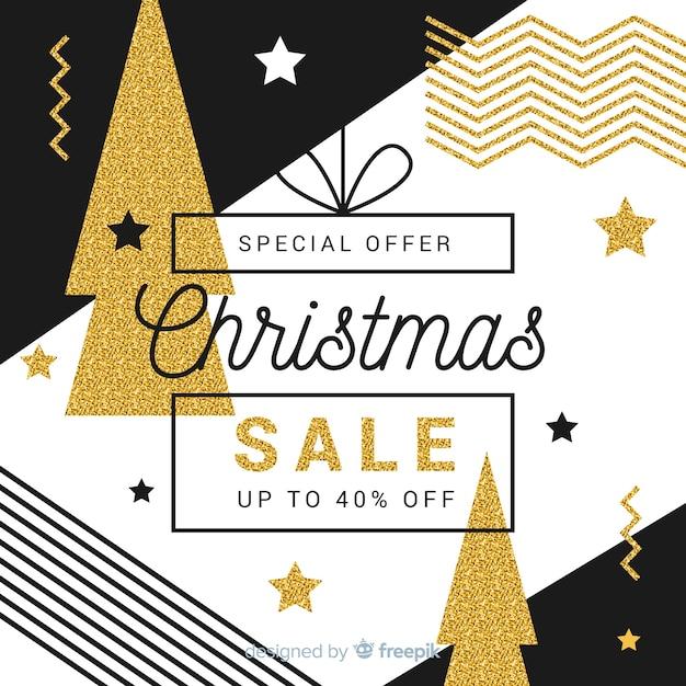 Fondo de rebajas de navidad dorado vector gratuito