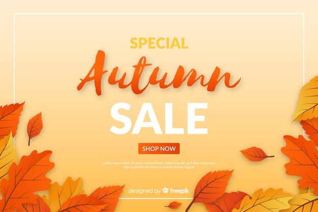 Fondo de rebajas de otoño en diseño plano vector gratuito