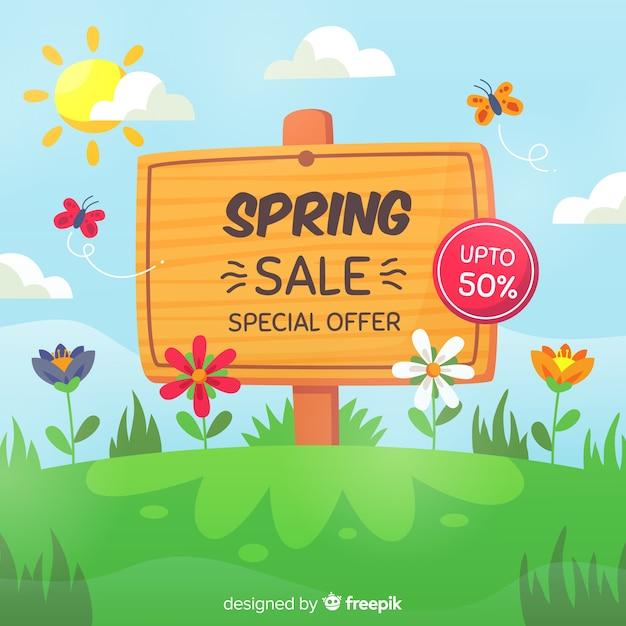 Fondo rebajas primavera cartel dibujado a mano vector gratuito