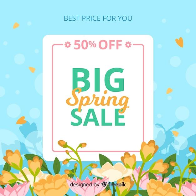 Fondo de rebajas de primavera vector gratuito