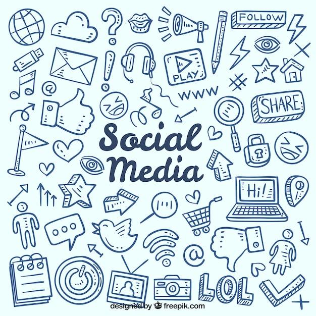 Fondo de redes sociales con elementos dibujados a mano vector gratuito