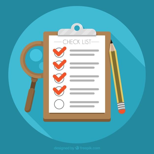Fondo redondo con lista de verificación y lápiz vector gratuito