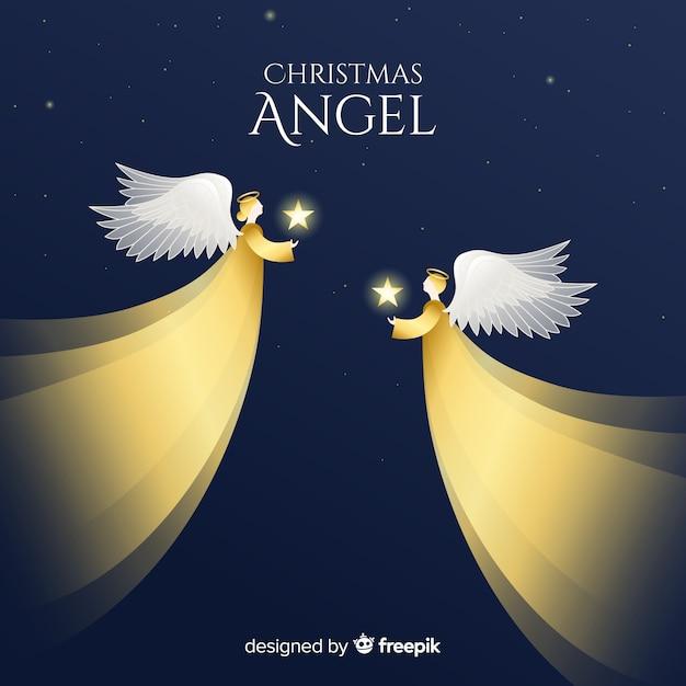 Fondo con reflejos de ángel de navidad vector gratuito