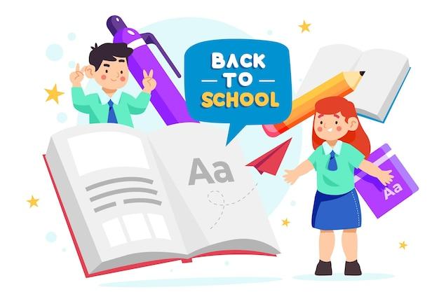 Fondo de regreso a la escuela con libros vector gratuito