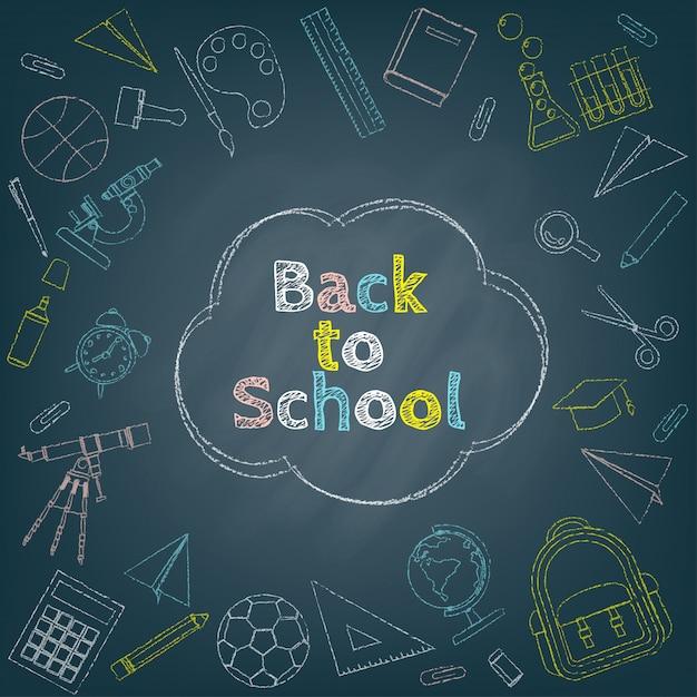 Fondo de regreso a la escuela rodeado de coloridos dibujos de tiza de papelería, curso y artículos escolares en pizarra negra Vector Premium
