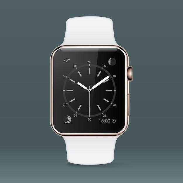 Fondo con reloj inteligente blanco vector gratuito
