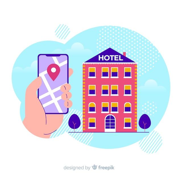 Fondo reserva de hotel plano vector gratuito