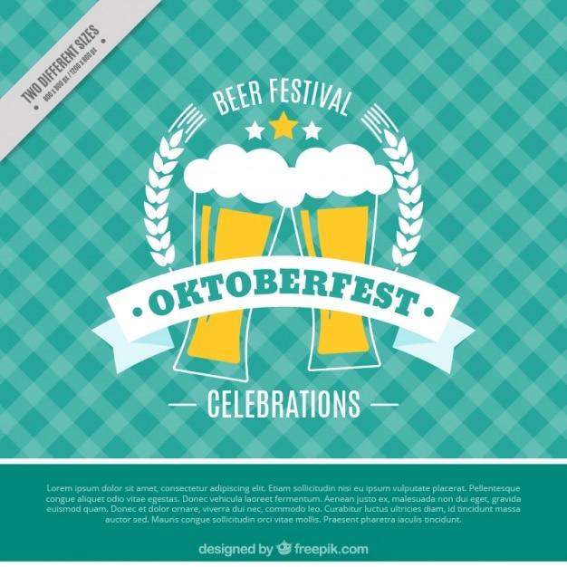 Fondo retro de oktoberfest con cervezas vector gratuito