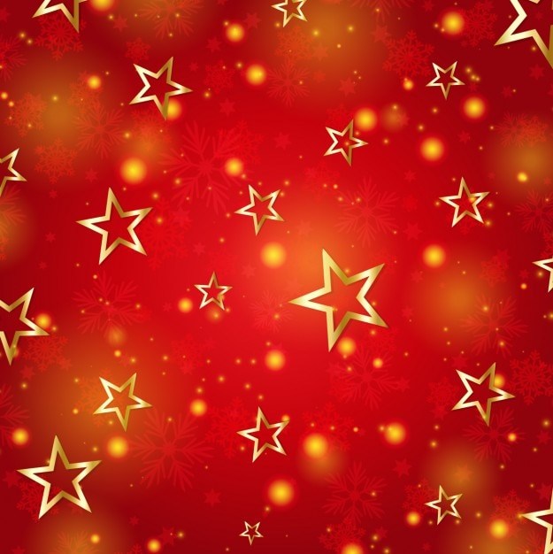 Fondo Rojo Abstracto Con Estrellas Doradas
