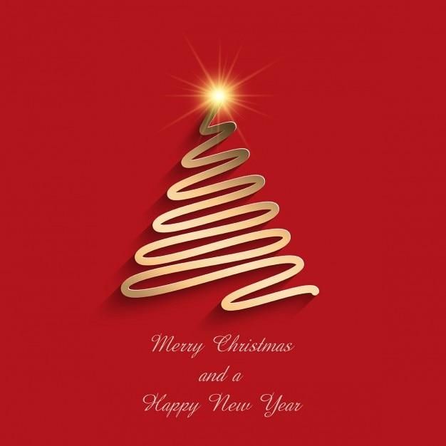 Fondo Rojo Con Un Arbol De Navidad Dorado Descargar Vectores Gratis - Arboles-de-navidad-dorados