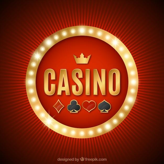 Fondo rojo con cartel luminoso de casino Vector Premium