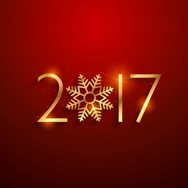 Fondo rojo de 2017 dorado con copo de nieve  Vector Gratis