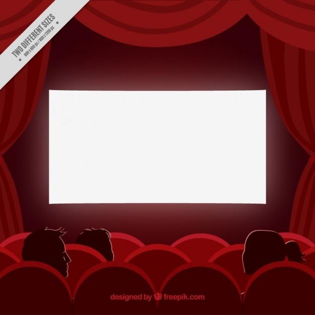 Fondo Rojo De Cine Con Cortinas Y Butacas
