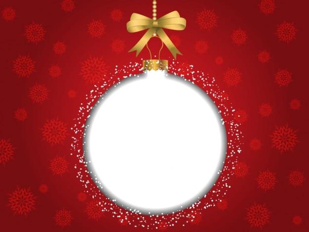Fondo rojo de navidad con bola de rbol blanca descargar - Bola arbol navidad ...