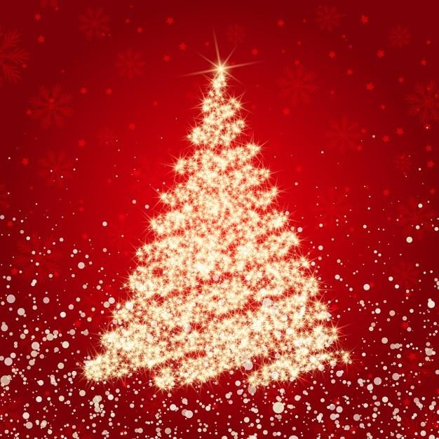 Fondo rojo de navidad con el rbol dorado brillante - Arbol de navidad dorado ...