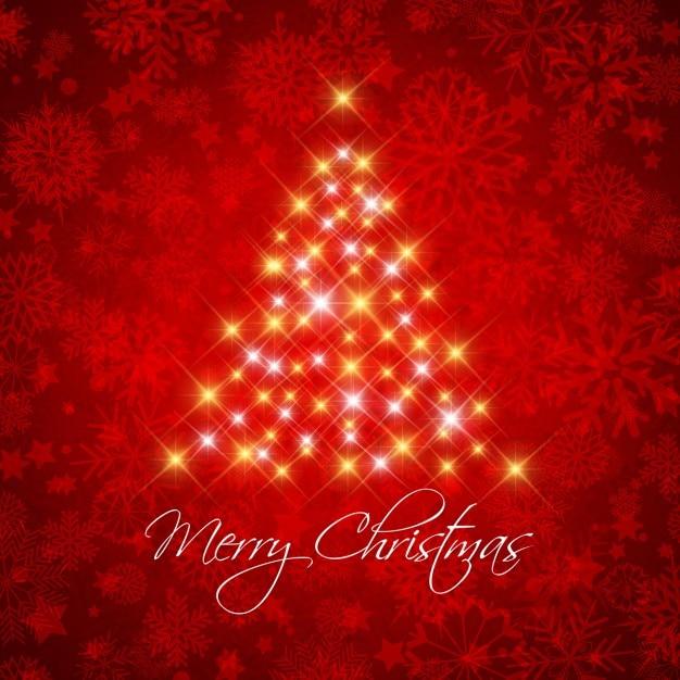 fondo rojo decorativo de navidad con rbol estrellado vector gratis