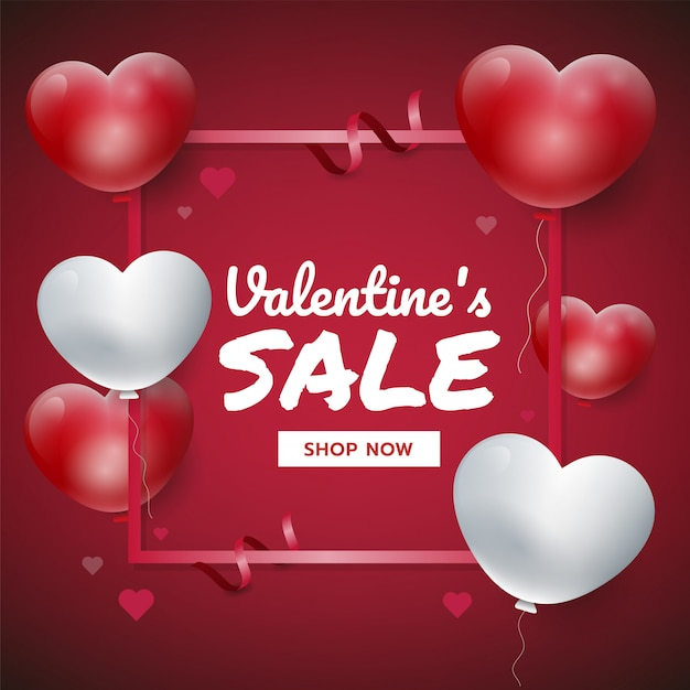 Fondo rojo del día de tarjeta del día de san valentín con los corazones 3d. ilustración de vector de promoción de ventas, para sitio web Vector Premium