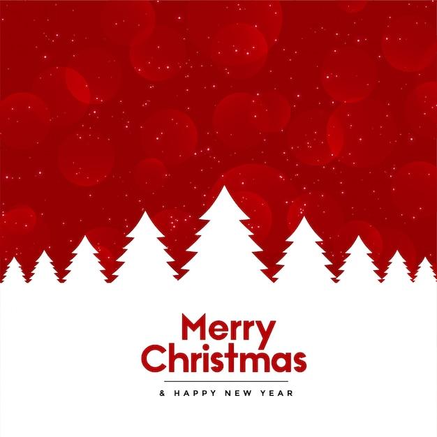Fondo rojo feliz navidad con árbol vector gratuito