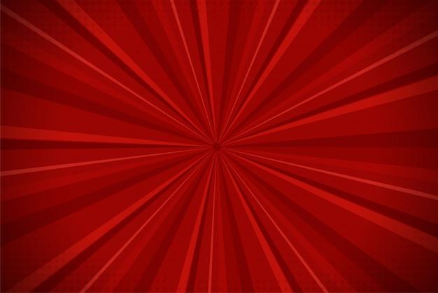 Fondo rojo de la luz del sol de la historieta cómica abstracta de ray. Vector Premium