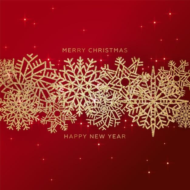 Fondo rojo de navidad con borde hecho de oro brillante confeti copos de nieve Vector Premium