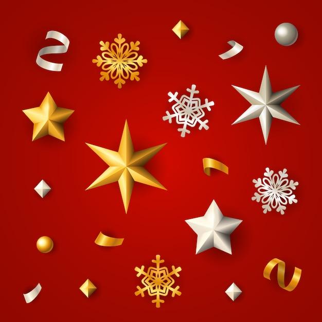 Fondo rojo de navidad con estrellas, copos de nieve y confeti vector gratuito
