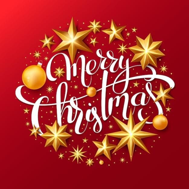 Fondo rojo de navidad con letras y estrellas de lámina de oro Vector Premium