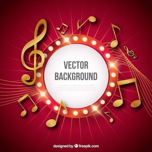 Fondo rojo con notas musicales doradas vector gratuito