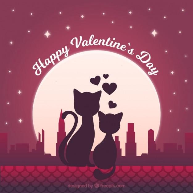 Fondo Romántico Con Gatos Enamorados Descargar Vectores Premium