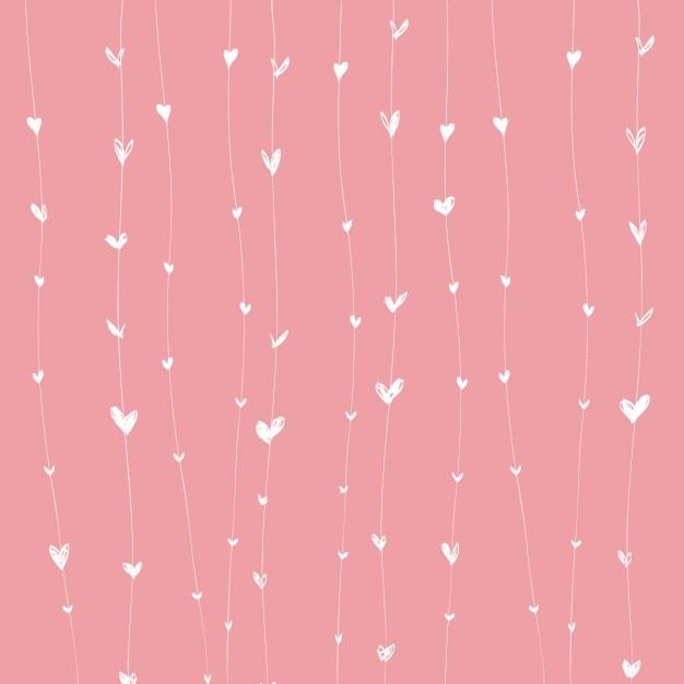 Fondo rosa con corazones blancos sobre líneas vector gratuito