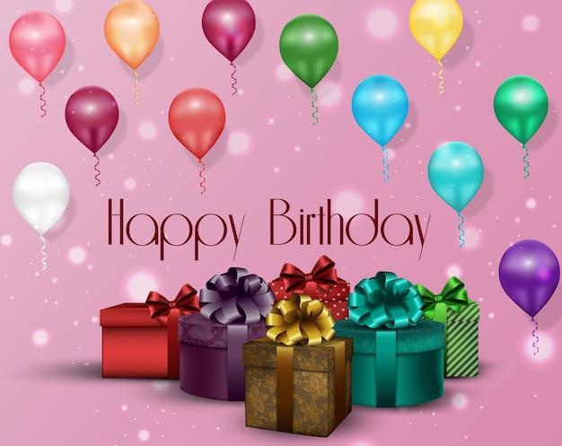 Fondo rosa cumpleaños de fiesta Vector Premium