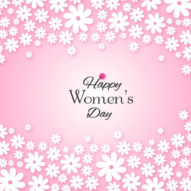 Fondo Rosado Del Dia De La Mujer Con Flores Blancas Descargar