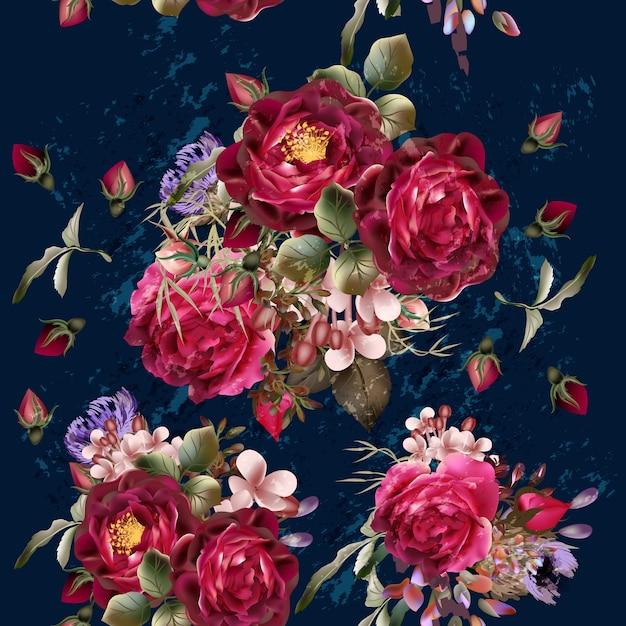 Fondo con rosas de acuarela Vector Premium