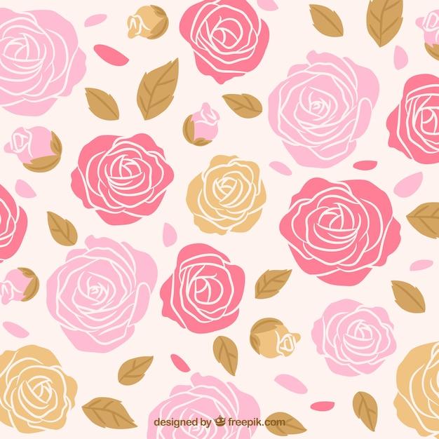 Fondo de rosas dibujadas a mano con hojas Vector Premium