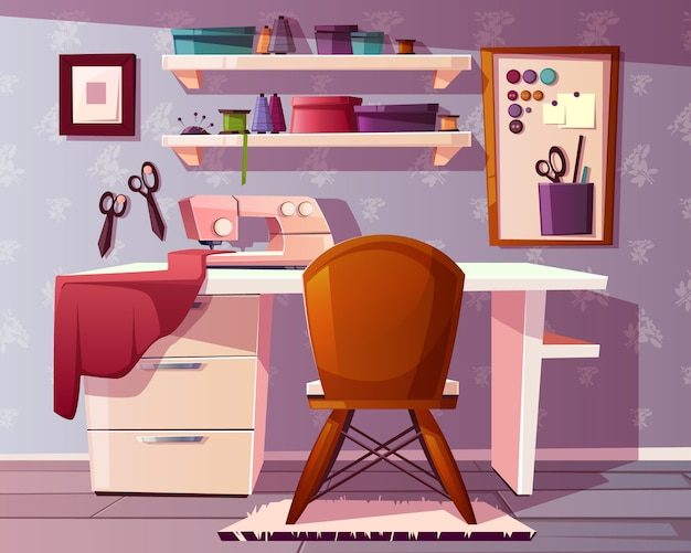 Fondo de sala de sastre, artesanía o área de costura. estudio de una costurera vector gratuito
