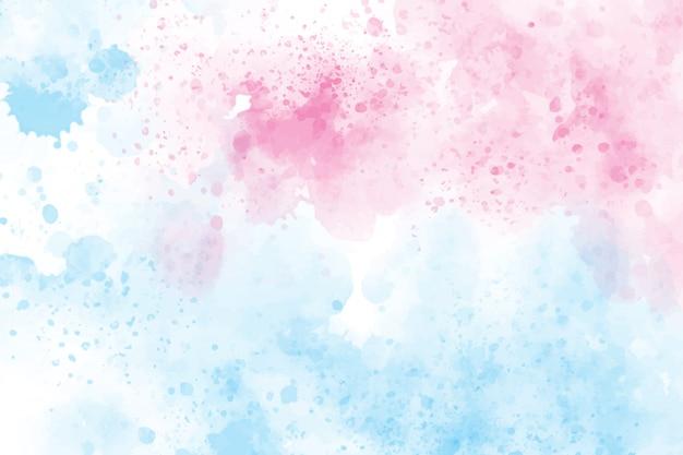 Fondo de salpicaduras de lavado de acuarela azul y rosa de 2 tonos Vector Premium