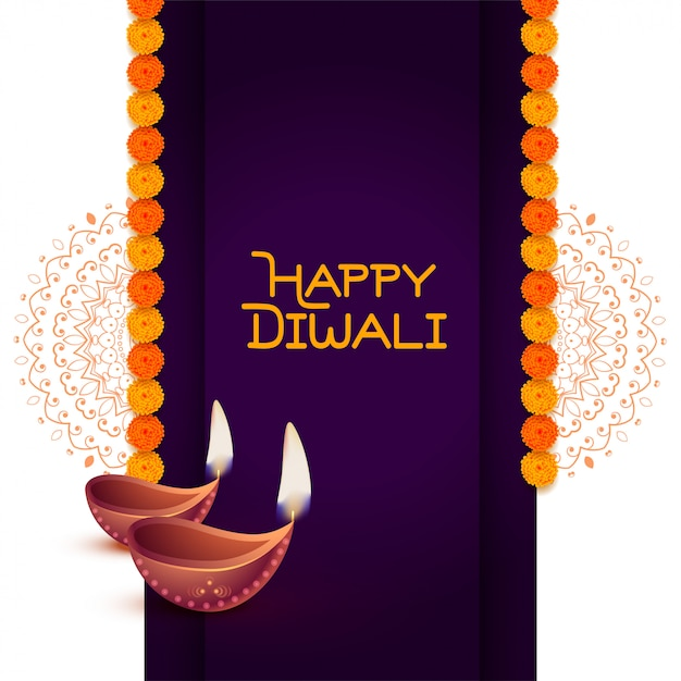 Fondo de saludo elegante feliz diwali diya vector gratuito