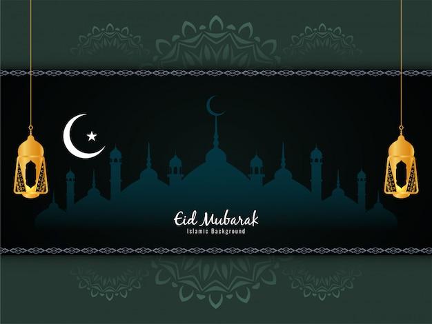 Fondo de saludo del festival islámico eid mubarak vector gratuito