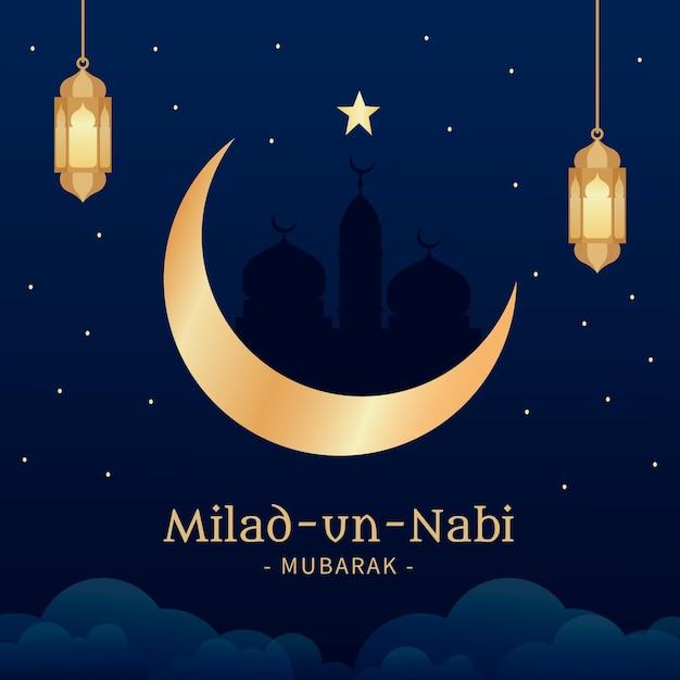 Fondo de saludo mawlid milad-un-nabi con linternas y luna vector gratuito