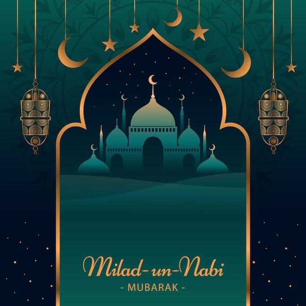 Fondo de saludo de mawlid milad-un-nabi con mezquita y linternas vector gratuito