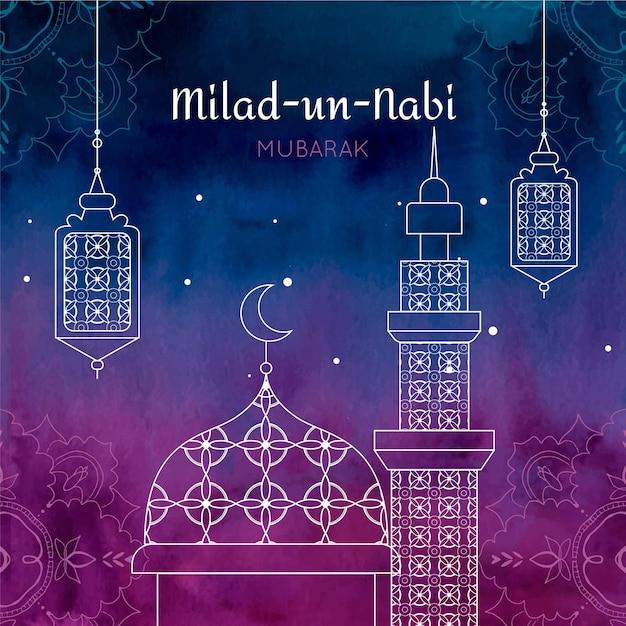 Fondo de saludo mawlid milad-un-nabi con mezquita vector gratuito