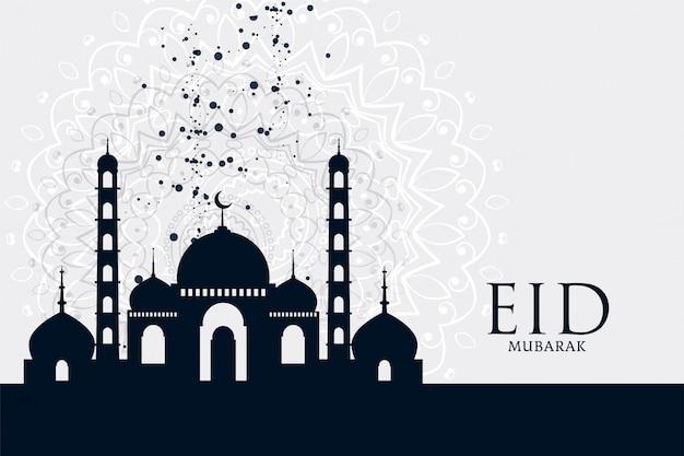Fondo de saludo de la mezquita festival eid mubarak vector gratuito