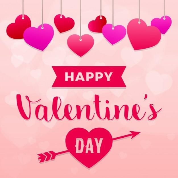 96d8f9fd9fd77 Fondo para san valentín con corazones colgantes