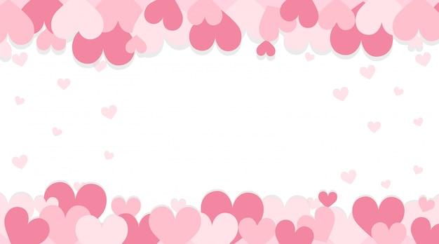 Fondo de san valentín con corazones de color rosa vector gratuito