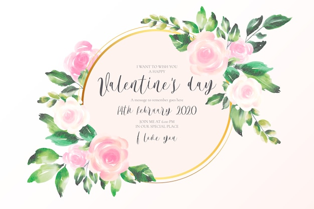 Fondo de san valentín con flores rosas suaves vector gratuito