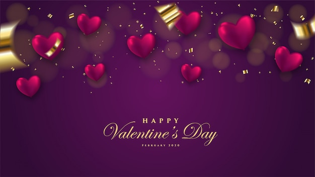 Fondo de san valentín con globo 3d en forma de ilustración de amor sobre un fondo oscuro. Vector Premium