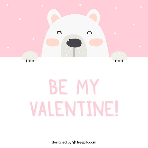 Fondo de san valentin con oso polar vector gratuito
