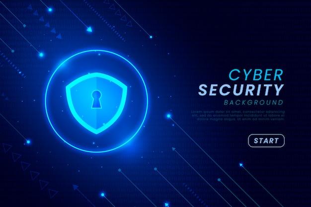 Fondo de seguridad cibernética con elementos brillantes Vector Premium